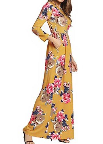 Coolred-femmes Poches Classiques Imprimé Floral Mince Pleine Longueur Robe Jaune