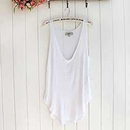 Fashion Summer Woman Lady Sleeveless V-Neck Candy Vest Loose Tank Tops T-shirt (White)