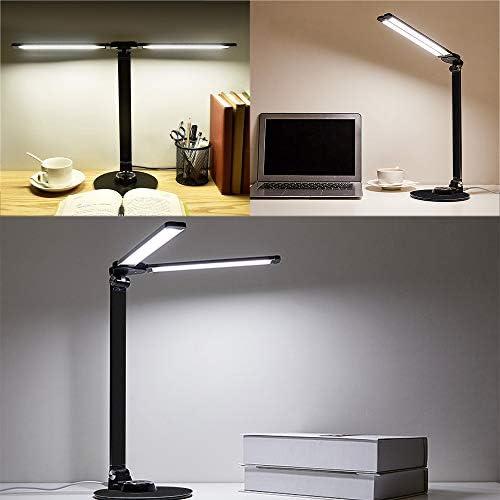 Hoteck Schreibtischlampe LED Büro Tischleuchte 3 Farb und stufenloses dimmbar, USB-Anschluss Tischleuchte mit ladefunktion für Aufladung des Smartphones, Augenschutz Touchfeldbedienung(Schwarz)