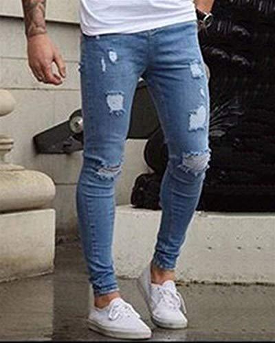Pantalones Skinny del Casuales Hellblau Hombres Vaqueros Elástico Ajustados Delgados Pantalones Pantalones De Mezclilla Pantalones Vaqueros Rasgados Lápiz Lannister Los Regulares Fashion De Básicos Pantalones zZqBwO