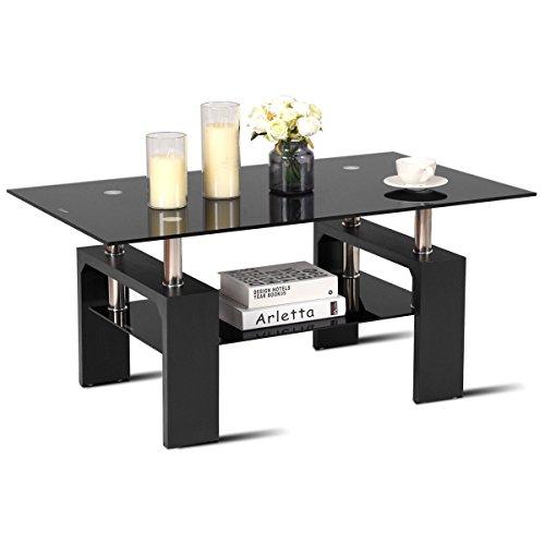 TANGKULA Rectangula Glass Coffee Table Shelf Wood Living Room Home Furniture (Large Rectangular Coffee Table)