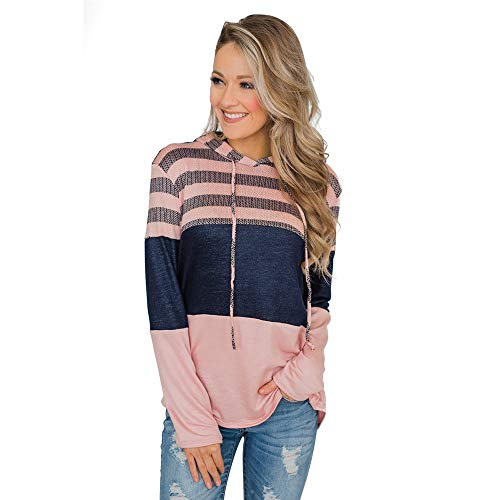 Soluo Women's Long Sleeve Color-Block Hoodie Floral Pullover Casual Sweatshirt Tops with Pockets (Pink,large)
