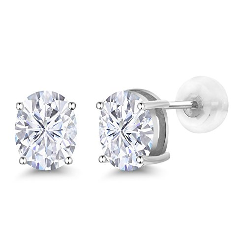 14K White Gold Stud Earrings Forever Classic Oval 3.00ct (DEW) Created Moissanite by Charles & Colvard