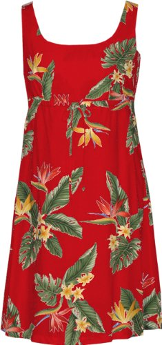 RJC Womens Bird of Paradise Display Empire Tie Front Short Tank Dress in Red - 3X Plus