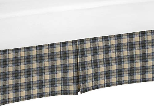 Sweet Jojo Designs Blue and Tan Woodland Plaid Flannel Boy Pleated Crib Bed Skirt Dust Ruffle for Rustic Patch Collection