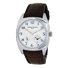 PRE-OWNED WATCH. VACHERON CONSTANTIN HISTORIQUES DUAL TIME MEN'S WATCH WITH 18K WHITE GOLD CASE AND DARK BROWN LEATHER STRAP. WATCH HAS A SILVER DIAL WITH DUAL TIME ZONES FEATURES. WATCH RUNS ON AUTOMATIC MOVEMENT. WATCH DOES COME WITH BOX AN...