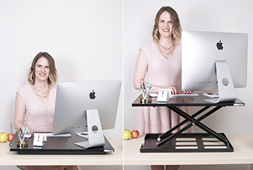 Standing Desk - X-Elite Pro Height Adjustable Desk Converter - Size 28in x 20in Instantly Convert any Desk to a Sit / Stand up Desk (Black) by Stand Steady (Image #8)
