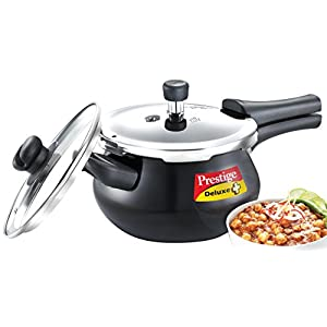 Prestige Deluxe Duo Plus Induction Base Aluminium Pressure Cooker, 3.3 Litres, Black