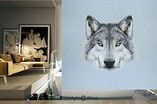 Decorative Privacy Window Film/Wolf Portrait with Beautiful Gaze Sublime Animal Illustration Canine Beast/No-Glue Self Static Cling for Home Bedroom Bathroom Kitchen Office Decor Black Beige Bluegrey