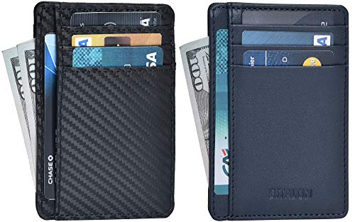 Leather wallets Slim Wallets for Men with RFID - Genuine Leather Handmade Minimalist Credit Card Holder (Black Carbon/Navy Nappa Combo of 2) ()