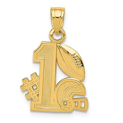 (14K Yellow Gold #1 Football Story Helmet Pendant Solid 13 mm 21 mm Themed Pendants & Charms Jewelry)