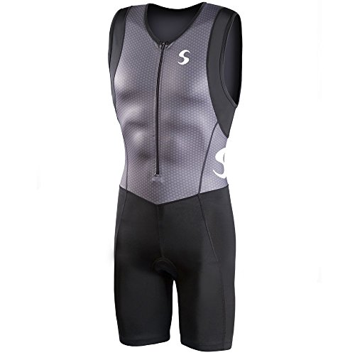 Synergy Men's Triathlon Trisuit (Gray/Black, - Triathlon Men Suits