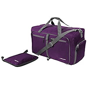 HEXIN Sports Duffle Bag for Gym Gear or Travel - Large 27''with Shoes Pocket Purple
