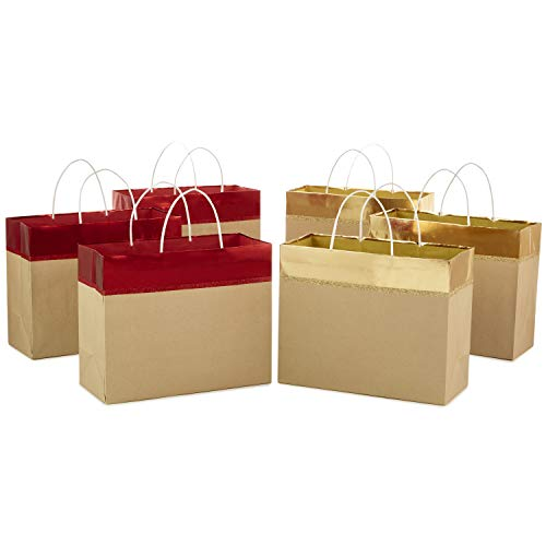 Hallmark 10 Large Christmas Gift Bags Assortment, Wide (Pack of 6) Red and Gold Foil, Kraft Paper