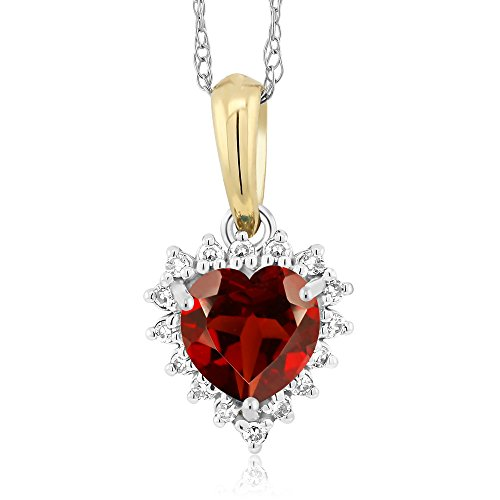 18K Two-Tone Red Garnet and Diamond Heart Shape Pendant 0.55 Ct (Tone Pendants Two Garnet)