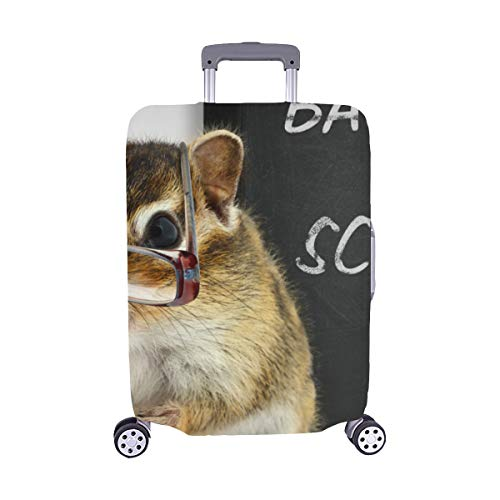 Funny Chipmunk In Glasses Back To School Concept Pattern Spandex Trolley Case Travel Luggage Protector Suitcase Cover 28.5 X 20.5 Inch ()