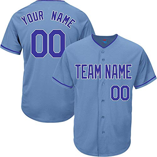 Light Blue Custom Baseball Jersey for Men Women Youth Practice Embroidered Team Name & Numbers -