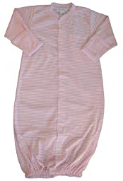 Kissy Kissy Baby Stripes Convertible Gown-White With Pink-Small