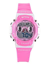 FSX-521 Kids Girls Boys Sports Digital Water Resistant LED Eye Wrist Watches with Back Light, Alarm, Stopwatch, Chronograph, Chime, Calendar, Date and Day, 12/24 Hours (pink)