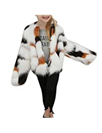 AutumnFall Kids Baby Girls Autumn Winter Faux Fur Patchwork Long Sleeve Coat Jacket Thick Warm Outwear Clothes (8T, Brown)