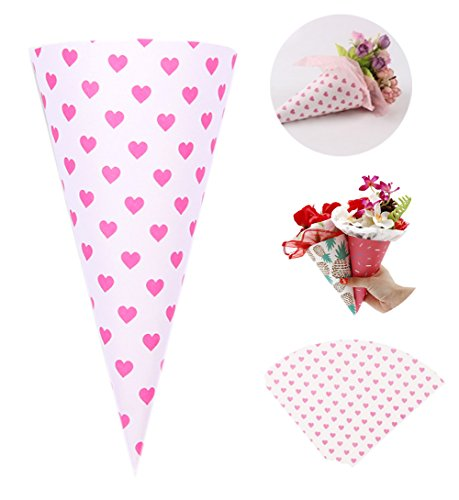(Self-Adhesive Flower Packaging Paper Bouquet Wrapper Candy Food Paper Conesfrom Ocharzy (20 pcs, Pink Heart))