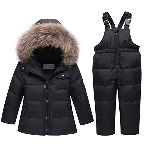 JiAmy Kids 2-Piece Snowsuit Winter Puffer Jacket and Snow Pants Ultralight Skisuit Set Black ,100/2-3 Years
