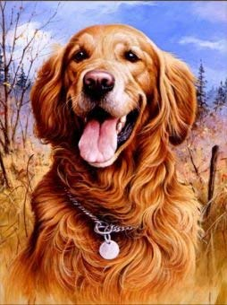 WiHome 5D Diamond Painting Kits for Adults Full Drill Golden Retriever Embroidery Rhinestone Painting