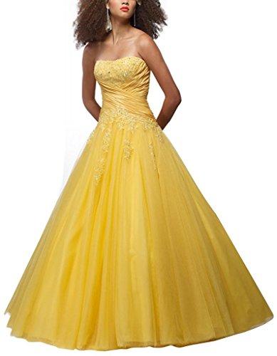 Gelb GEORGE Gelb Applikationen Tuell Ballkleid BRIDE mit bodenlangen Ballkleid Perlen Liebsten SZxSqTPw4