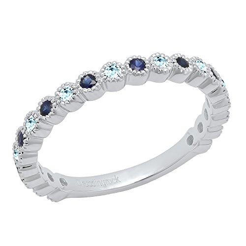 14K White Gold Round Aquamarine & Blue Sapphire Eternity Stackable Wedding Band (Size (Aquamarine White Gold Eternity Bands)