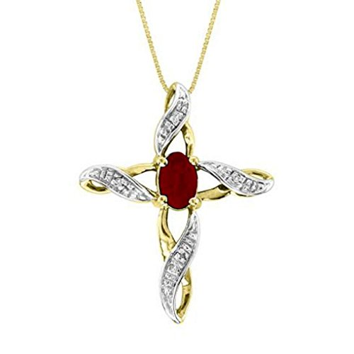 Diamond & Ruby Cross Pendant - 7
