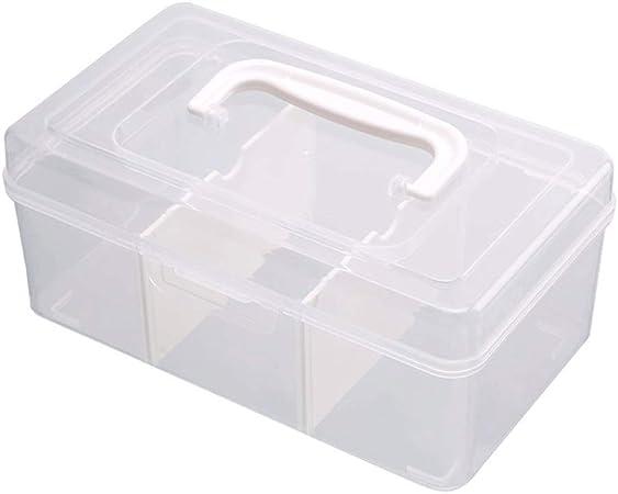 D-YYBB Caja de almacenamiento, 3 compartimentos de cristal de plástico transparente caja de almacenamiento Cajas con tapa Oficina apilable, for Nursery, oficina, Decoración del hogar, estante del gabi: Amazon.es: Hogar