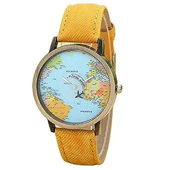 Reloj Unisex Estilo de Mapa Mundial/Vendimia Mapa del Mundo/Mapa del Mundo Antiguo/Reloj de señoras/Las Mujeres de imitación Absolute: Amazon.es: Ropa y ...