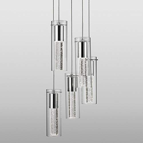 Kuzco PD4405-CH Five LED Pendant with encased crystal Bubbles in Glass Shade on Chrome Canopy