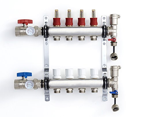 PEX Manifold Radiant Floor Heating Set 4 Loop System Stainless Steel Heated Hydronic Heating 1/2