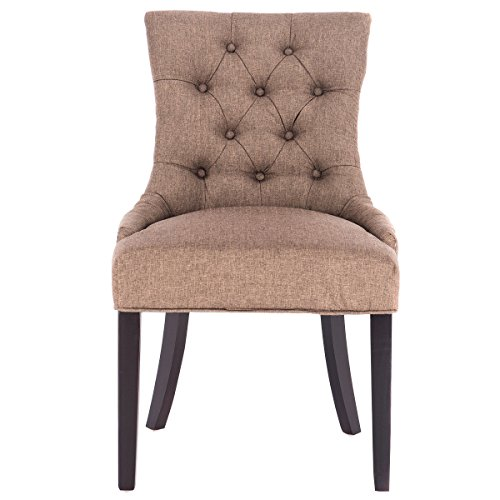 AK Energy Brown Fabric Dining Chair Tufted Leisure Padded Upholestered Nailed Trim Wood Legs Home