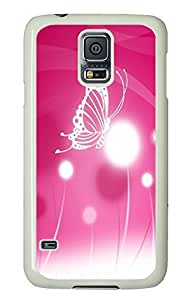 Samsung S5 rubber cases Butterfly Pink PC White Custom Samsung Galaxy S5 Case Cover