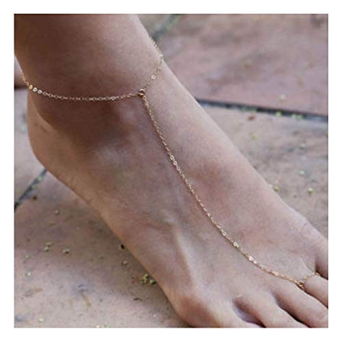 (Olbye Gold Ring Toe Anklet Chain Barefoot Sandal Foot Bracelet Handmade Anklet Beach Jewelry for Women and Teen Girls)