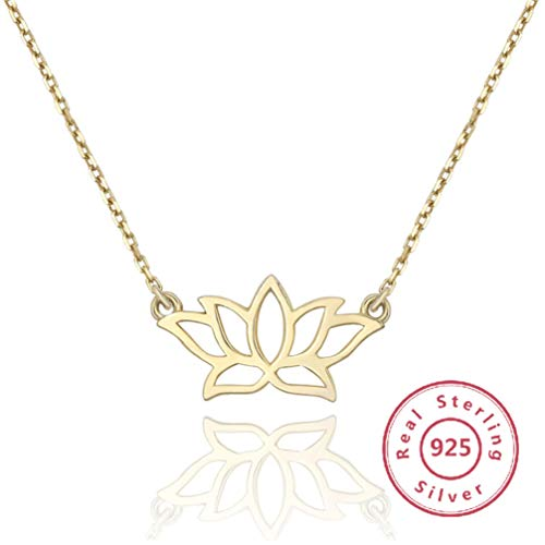 WANZIJING 925 Sterling Silver Lotus Necklace, Boho Hollow Flower Pendant 18'' for Woman Jewelry Gift,Gold