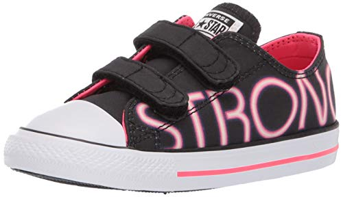 ts' Chuck Taylor All Star 2V Low Top Sneaker, Black/Racer Pink/White, 5 M US Toddler ()