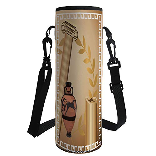 iPrint Water Bottle Sleeve Neoprene Bottle Cover,Toga Party,Antique Greek Columns Vase Olive Branch Hellenic Heritage Icons,Light Brown Cinnamon White,Fit for Most of Water Bottles