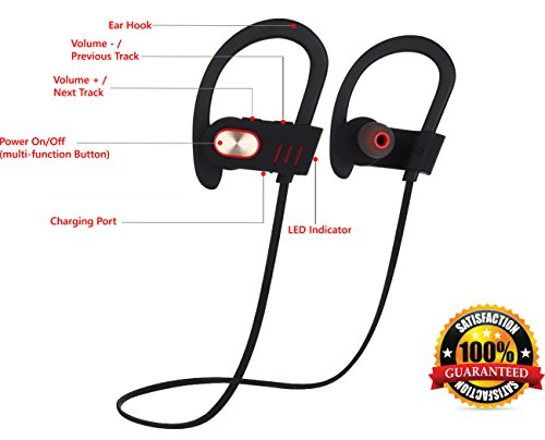 Bluetooth Headphones Wireless Over-Ear Sweatproof Earbuds with Microphone for Phone Calls - Best Headset Earphones for Running Exercise Sport Gym on iPhone 6 6s Plus 5C 5S Android Samsung Galaxy S6 S5