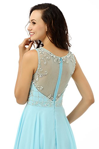Beauty-emily O-collo Sweetheart Senza Maniche Sera See-through Vestito Blu