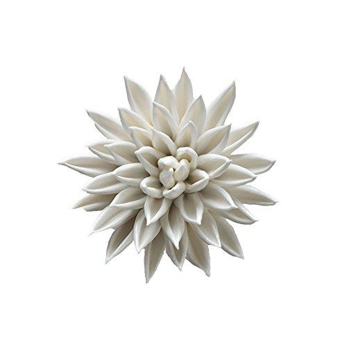 ALYCASO Hand-Made 3D Ceramic Flower Wall Decor Starfish Porcelain Wall Sculpture Kitchen Wall Art, White-S -