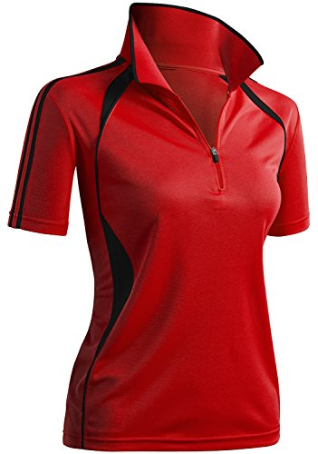 TWINTH Womens Active Wear Short Sleeve Zipup Polo Lined T-Shirt with Plus Size RED S