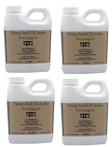 Chalk Mountain Brushes 4pack 32oz Hemp Seed Oil Citrus Scented Furniture Sealer. Beautifys and Protects Painted and Unfinished Wood. Safe to use Indoor and Outdoors