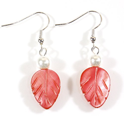 Style-ARThouse Coral Leaf, Bright Coral Color Mother-of-Pearl Earrings; 1.5 Inches Total (Colored Flower Dangle Earrings)