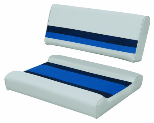 (Wise 8WD125FF-1011 Deluxe Pontoon Series Pontoon Flip-Flop Seat Cushion Set, Grey/Navy/Blue - use with 8WD125FF-1B Series Base)