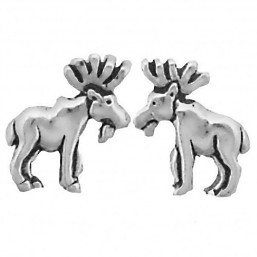 Corinna-Maria 925 Sterling Silver Moose Earrings Studs Tiny Mini Stainless Steel Posts and Backs