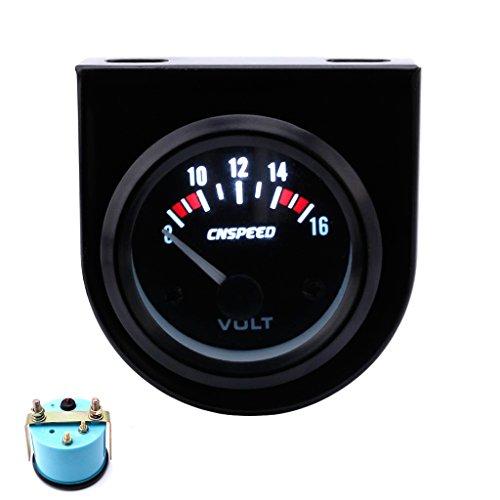 Qisuw 2'' 52mm Mechanical Car Auto 8-16V Volt Voltmeter Voltage Meter Gauge White (2' Voltmeter)