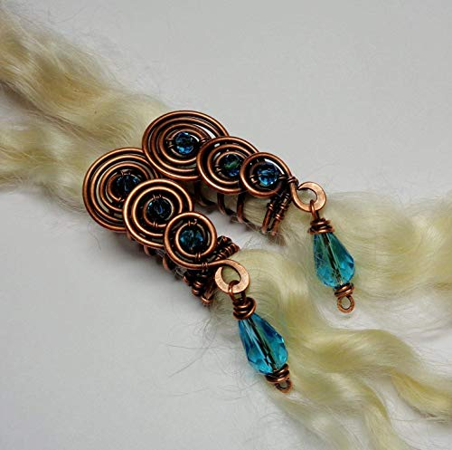 2 Copper Beads for Dreads, Braids, Locs, Twists - Choose Color - Cascade Spiral w Crystal Dangle Dreadlocks Accessories, Boho Hair Jewelry ()